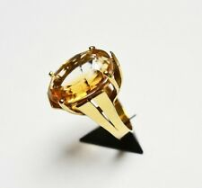 Damen Ring 14 Karat 585 Gold 10,5g Citrin 17,5 ct Ceylonschliff Expertise Gr. 60