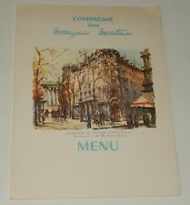 Menu 1ère : Compagnie des Messageries Maritimes Pierre LOTI Diner 1959 Bd PARIS