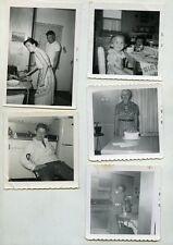 5 vintage b/w snapshot photos Home interior Kitchen photographs  Cake