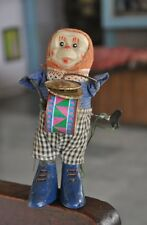 Vintage Wind Up Monkey Playing Cymbals Litho Tin Toy
