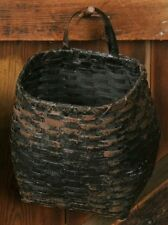 Primitive Country Rustic Grungy Distressed Black Drum Hanging Wall Basket