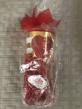 Slant Collections Sequin Heart Double Wall Wine Glass with Lid and Straw