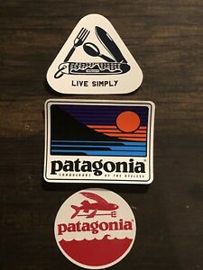 Patagonia Trident Fish, Live Simply Pocketknife, Up And Out Stickers Qty 3