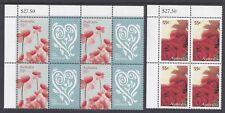 Australia 2009 With Love stamp Set Blocks of 8 & 4 Top Left Corner
