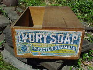 19thc IVORY SOAP Wood ADVERTISING Shipping BOX From PROCTOR + GAMBLE w LABEL