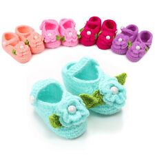 Newborn Baby Toddler Girls Cute Flower Crochet Booties Crib Shoes fits 0-12M
