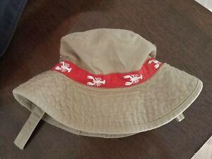 Carter's Bucket Hat, Tan w/ Lobster Print, Snap Brim, Chin Strap, 0-9 Months