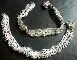 Indian Silver Plated Designer Heavy Ethnic Traditional Anklets Wedding  CZ Set 7