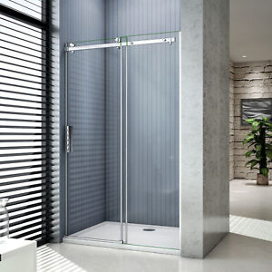 Sliding Shower Enclosure Frameless Glass Door Screen Cubicle 1950mm Tray+Waste