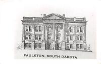 South Dakota SD Postcard c1950 FAULKTON County Court House Real Photo RPPC