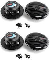 "BOSS MR60B 6.5"" 2-Way 200W Marine Boat Audio Coaxial Speakers Black (4 Pack)"