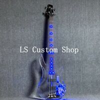 4 Strings LED Light Electric Bass Blule Color Acrylic Body Crystal Guitar
