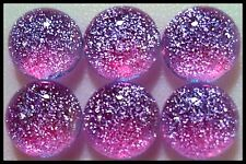 Lot of 6 TWINKLE LAVENDER Fused Glass DICHROIC Cabochons NO HOLE Beads Flat Back