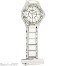 Henley Glamour Crystal White Enamel Silver Beautician Nurses Fob Watch HF06.1
