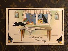 Halloween Greetings postcard UNUSED 412  Black cat JOL witch moon bat Vintage