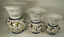 Formalities by Baum Bros Butterfly & Gold Flower Trim Open Lace 3 Piece Vase Set