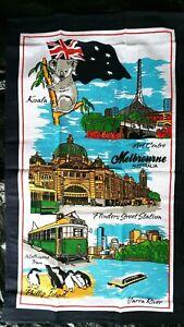 SALE 20% OFF Melbourne souvenir Flinders St.Station tram Art Cen. tea towel NEW