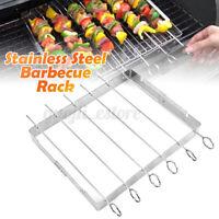 BBQ Kebab Grilling Rack w/ 6 Flat Metal Skewers Beef Lamb Chicken Flat Utensils