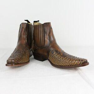 W81 Vtg Sancho Men Brown Western Cowboy Ankle Boots Snake Leather UK8 US8.5 EU42