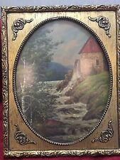 Oval Picture Frame Rectangular Glass Print Breath Of Spring Wind Fine 16x13 Vtg