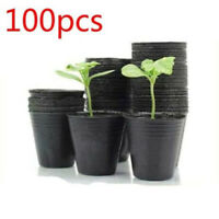 100pcs Round Nutritional Black Plastic Nursery Seedlings Plants Pots Garden