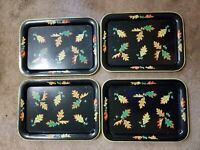 Set of 4 Vintage Black with Fall Leaves Tin Metal Trays Large Size