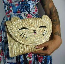 Sac à main original pochette paille tête de chat kitty pinup rétro vintage
