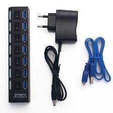 7 puertos USB 3.0 Hub de alta velocidad de 5 Gbps Encendido/Apagado Interruptor De Escritorio Portátil EU