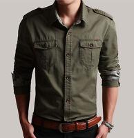 New Mens fashion military army cotton blend slim camo long sleeve casual shirts