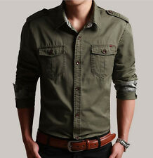 New Mens fashion military army cotton blend slim camo long sleeve casual shirts