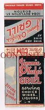 Jimmy O'Keefe's Grill Boston Massachusetts Matchcover