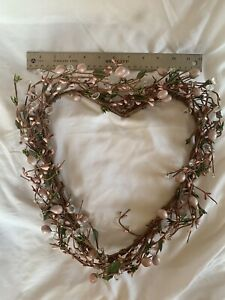 12in Heart Shaped Wreath-pink, White And Crystal