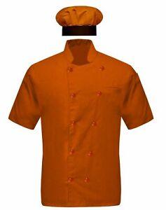 Veles - Half Sleeves Orange/Chef Coat Jacket / With Chef Coat Cap