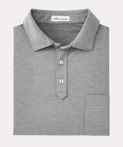 Peter Millar Men's Gray Clutch Cotton Blend Pique Knit S/S Pocket Polo Shirt