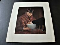 Old Woman with Black Cat by George Luks, American -1950s Reproduction Print .