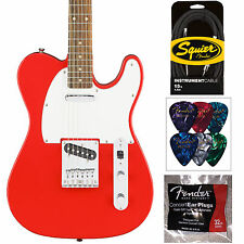 Squier Affinity Series Telecaster In Race Red - Guitar Cable, Picks, & Ear Plugs