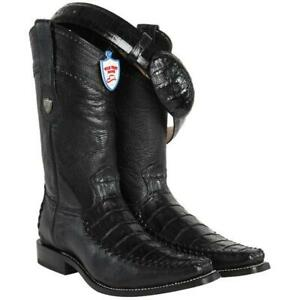 Men's Wild West Genuine Caiman Belly Boots Stitched Vamp Narrow Square Toe