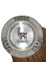 VINTAGE PEWTER  ASH TRAY BOLIVIA DECOR MOTIF 4.5''