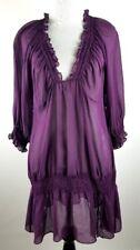 MARCIANO Women's Top Silk Shirt Purple Tunic Long Sheer Blouse