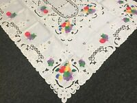 SALE 72x126'' White Embroidered Fruit Apple Grape Fabric Tablecloth 12 Napkins