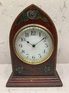 Vintage William Gilbert small decorated clock - unworking but has original key!