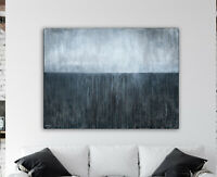 Original Abstract Painting 36x48 XLarge Canvas Art Gray Abstract Seascape Art