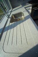 Granite worktop and quartz white KITCHEN WORKTOPS,supply and fitting Full Length