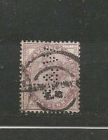 Queen Victoria Perfins Perfin One Penny  Old Stamps Sellos Timbres Briefmarken