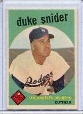 1959 Topps Baseball Card Duke Snider HOF Los Angeles Dodgers Near Mint # 20