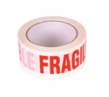 48MM x 66M WHITE PRINTED WARNING TAPE FRAGILE Packaging Parcel x 1 Roll