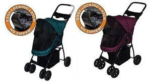 New No Zip Folding 4 Wheels Pet Gear Dog Cat Carrier Stroller Happy Trails Lite