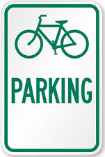 """Bicycle bike parking only 12"""" x 8"""" Aluminum Sign made USA Pre-Drilled holes"""