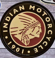 PLAQUE METAL vintage USA MOTO INDIAN MOTORCYCLE 1901   30 cm