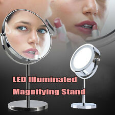 Round Free Standing LED Light Magnifying Make Up Vanity Dressing Table Mirror UK